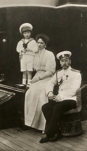 Nicholas II, Alexandra Feodorovna with Tsesarevich Alexei