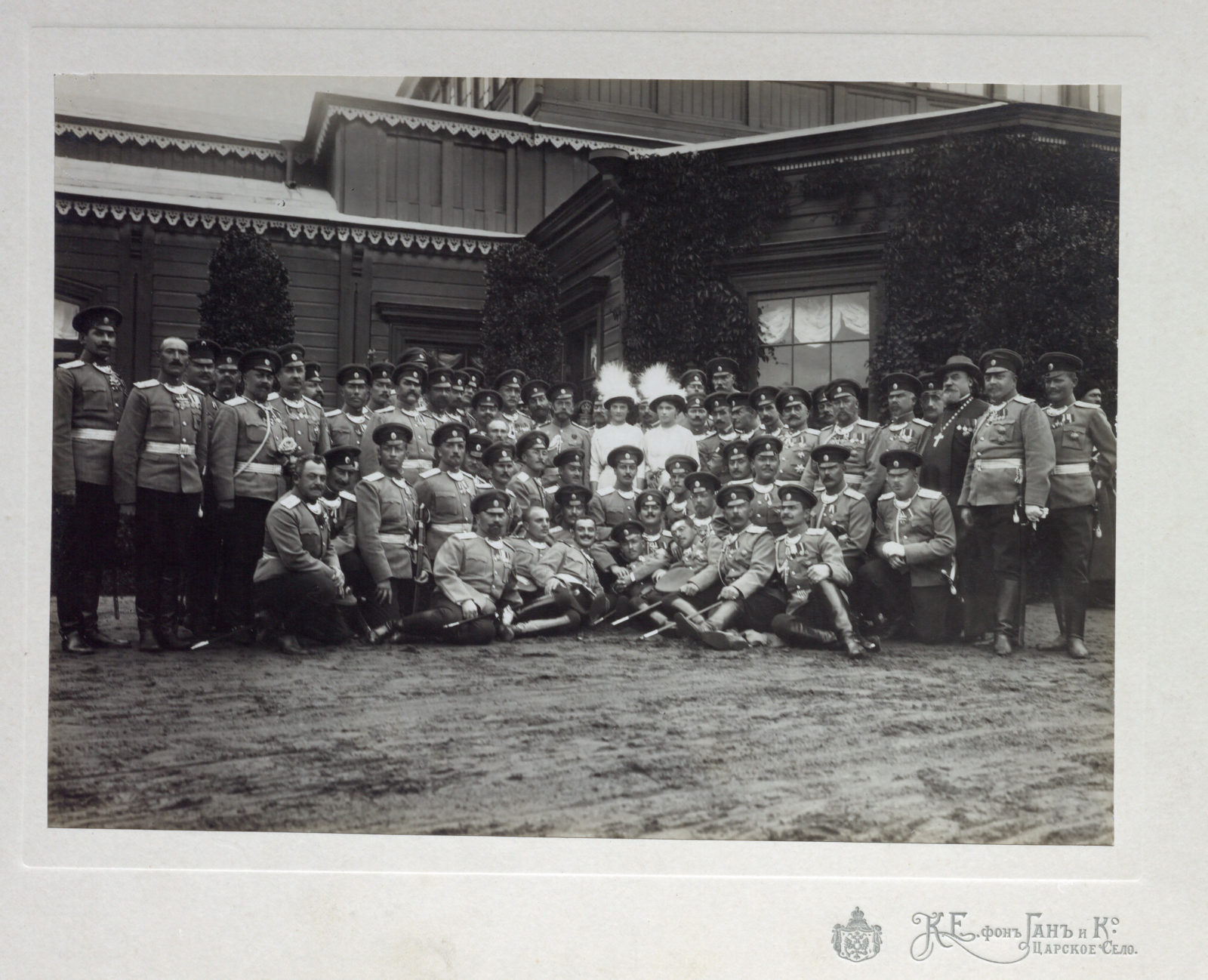 Emperor Nicholas II, Grand duchesses Tatiana, Olga, with army officers