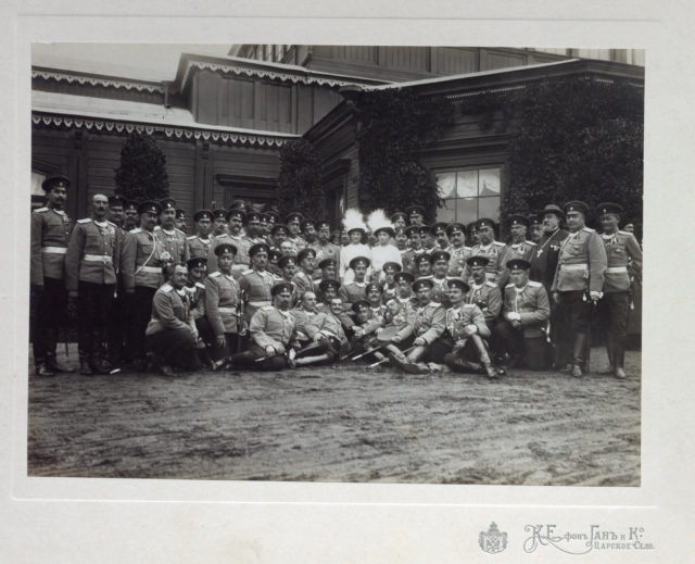 Emperor Nicholas II, Grand duchesses Tatiana, Olga, with army officers