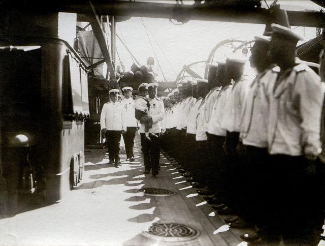 Emperor Nicholas II with heir tsesarevich Alexei Nikolayevich.