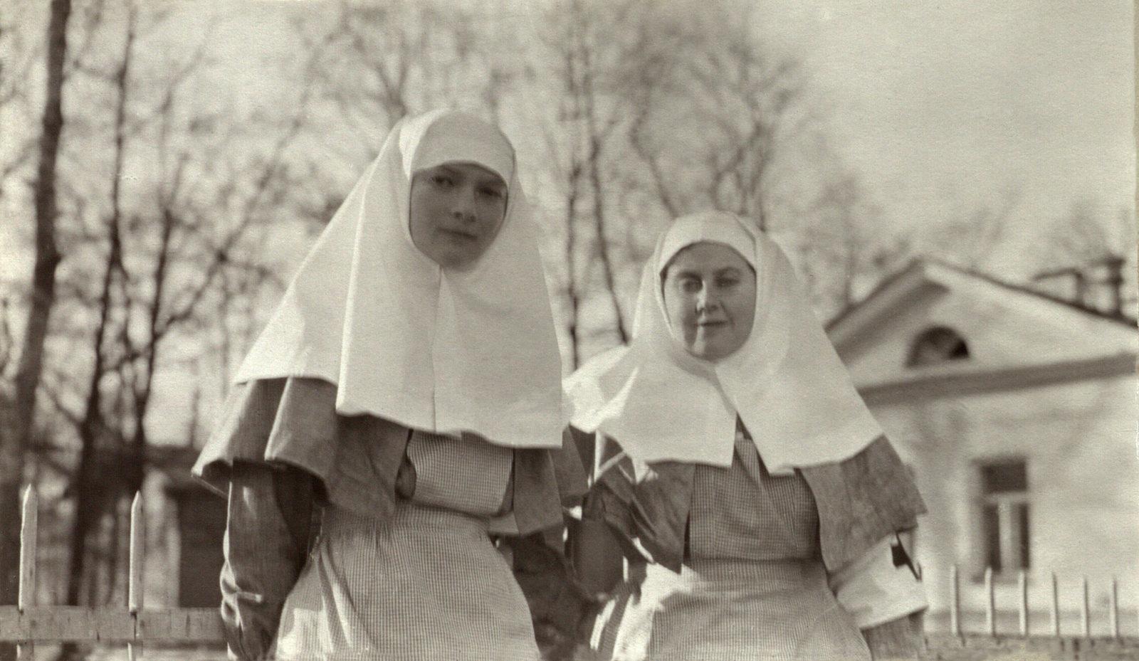 Grand Duchess Tatiana and Anna Virubova. Autumn 1914.