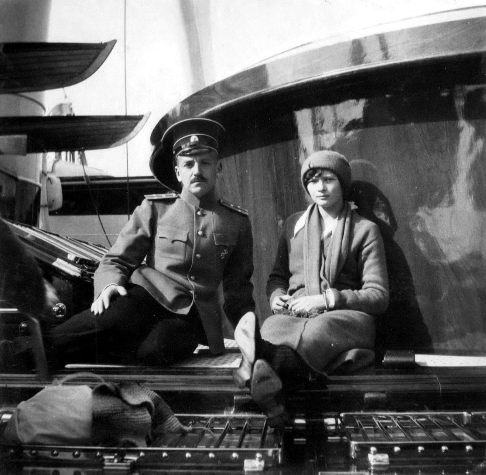 "Grand Duchess Tatiana on boGrand Princess Tatiana Nikolaevna and officer of the Imperial yacht ""Standart"" ."