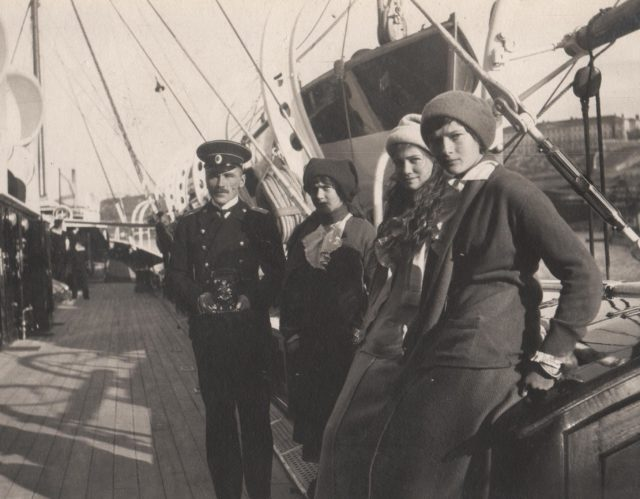 "Grand Princess Tatiana, Maria and Anastasia on board the Imperial yacht ""Standart""."