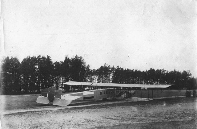 Heavy bomber Ilya Muromets after incident, 1914