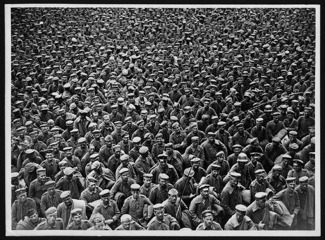 Massed German prisoners, France, during World War I