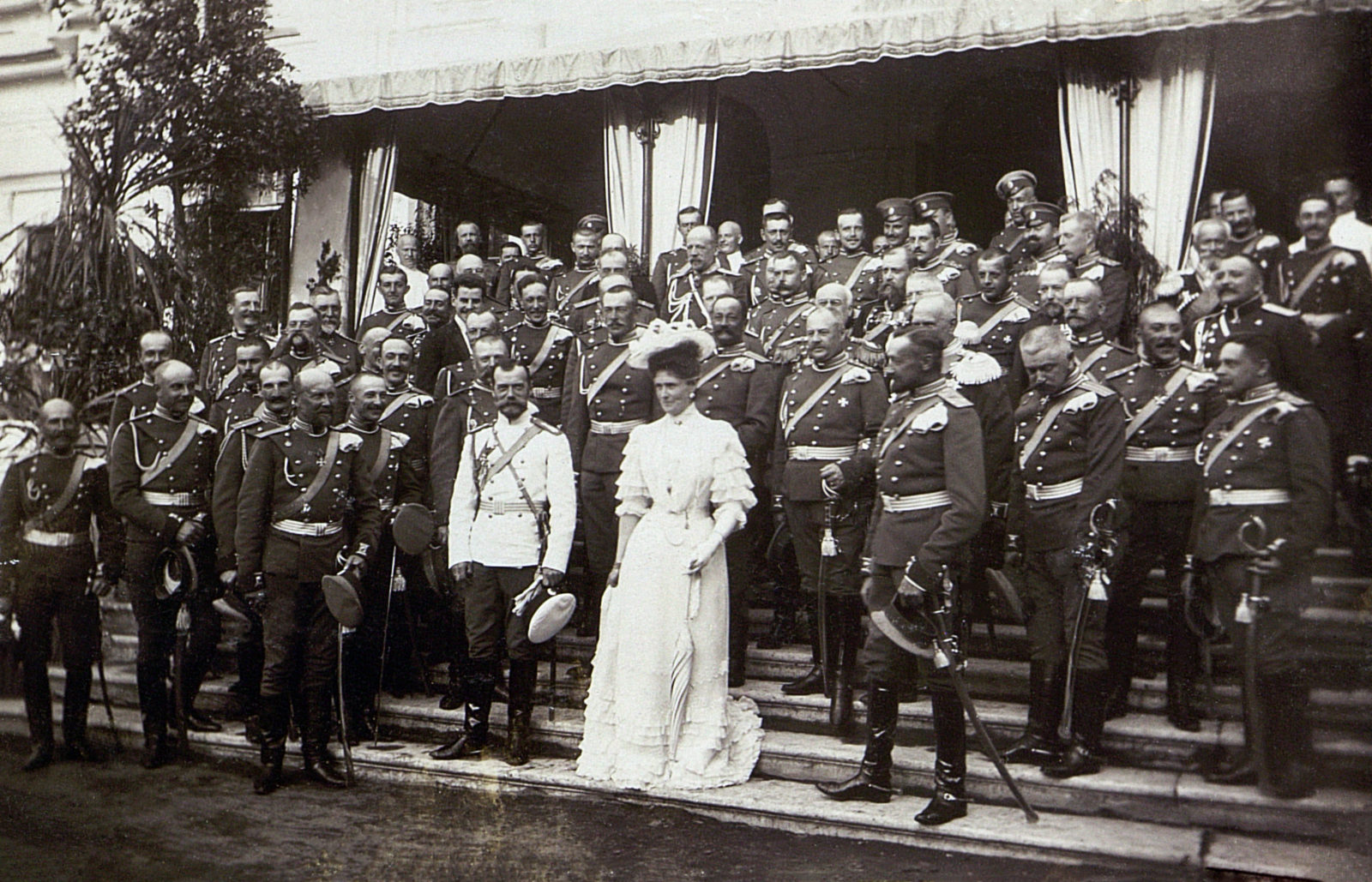 Nicholas II and Alexandra Feodorovna with officers