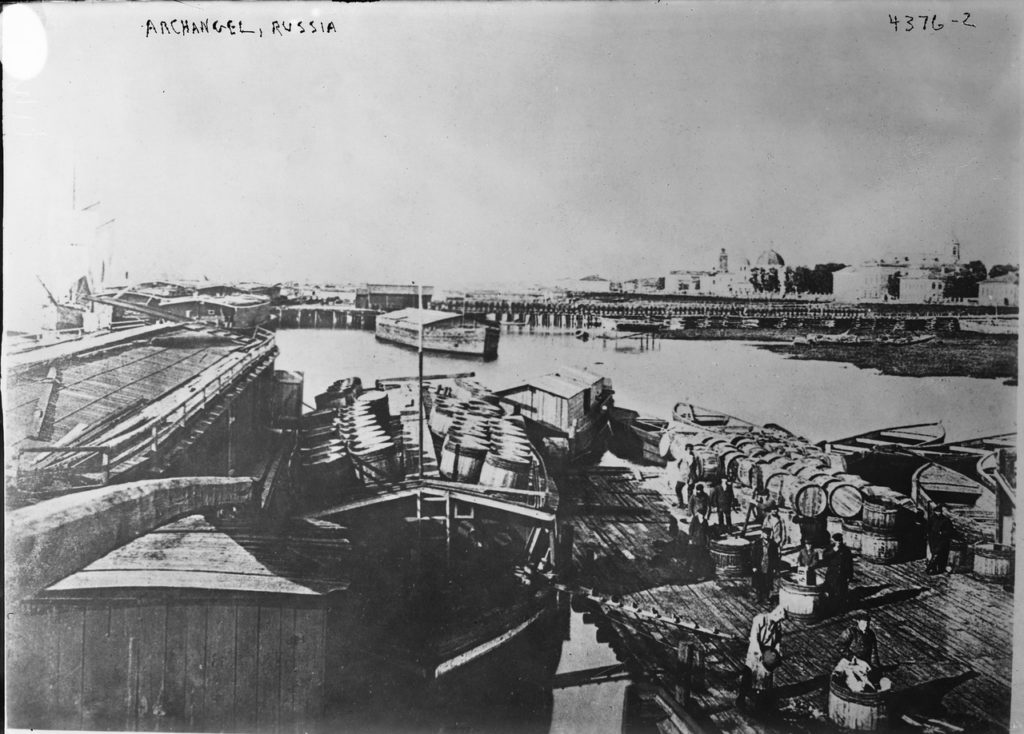 Loading Barge on Northern Dvina. Arkhangelsk (Archangel)