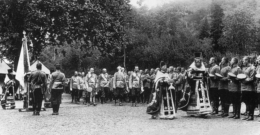 Officers and soldiers of the Peterhof garrison after a prayer in the presence of Nicholas II.