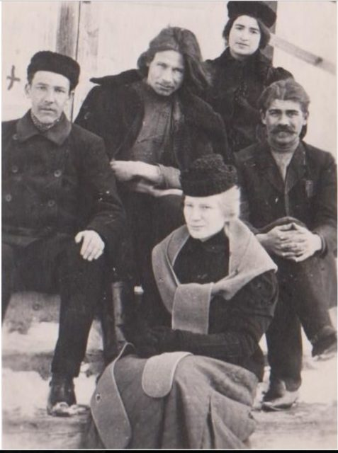 Political exiles in Onega. The wife of Yenukidze is Katya Sukhikh in the second row in the hood.