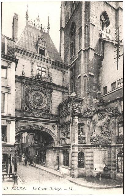Postcard: Rouen - La Grosse Horloge. December 1914