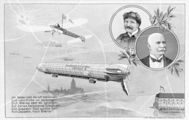 postcard with Blerio airplane and early Zeppelin