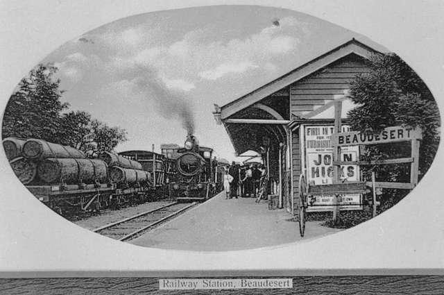 Railway station at Beaudesert, 1914 (8773604327)