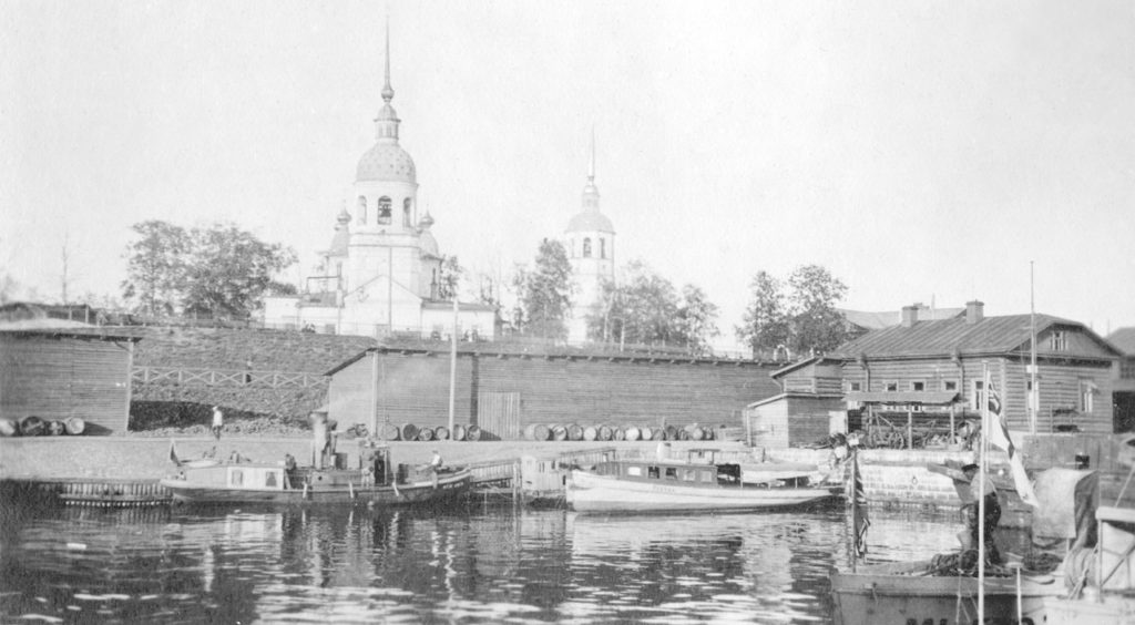 Merchant boats next to Cathedral of  Mikhail Arkhangel - Arkhangelsk (Archangel)