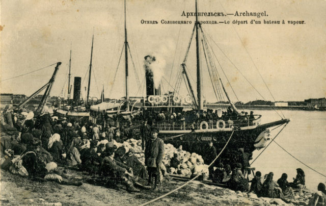 Solovki steamer. Port of Arkhangelsk (Archangel) on White sea, Northern Dvina River