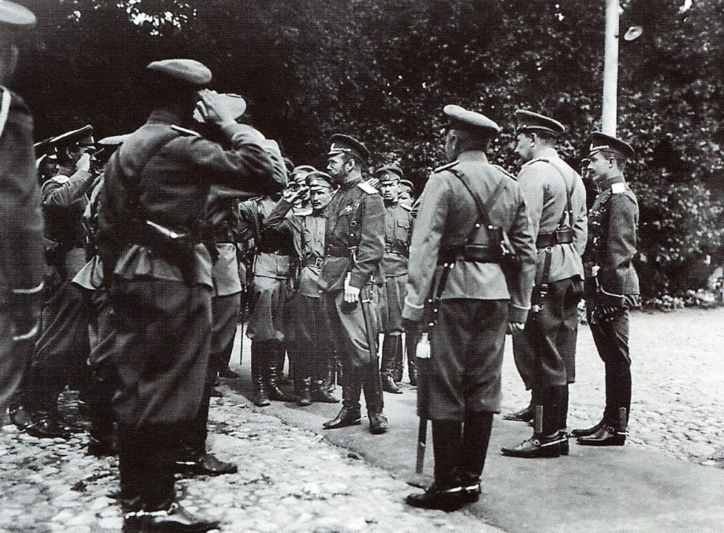 Emperor Nicholas II among the officers of the Stavka. Mogilev. August of 1915.