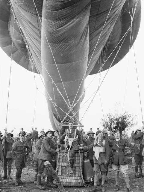 Entering the basket of an observation balloon
