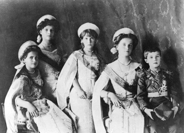 Grand Duchesses Marie, Tatiana, Anastasia and Olga, and the Tsarevich Alexis.