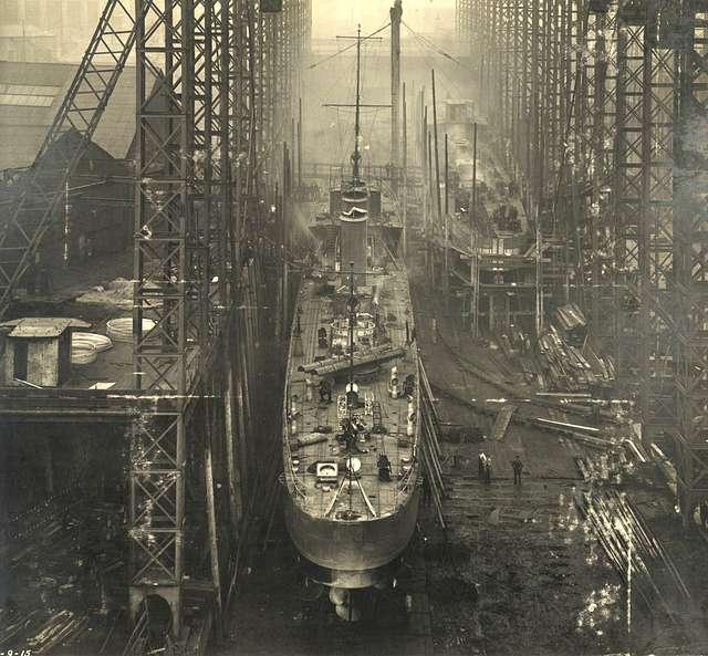 HMS Opal on the slipway