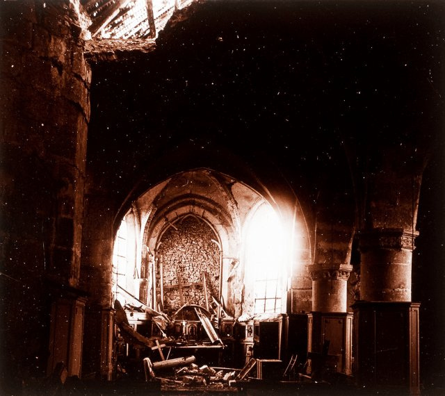 Identified! Ruined church in Barcy, France, 1915 - WW1 glass stereoview