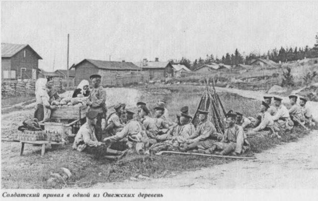 Soldiers in Onega, Arkhangelsk region, Russia, White Sea.