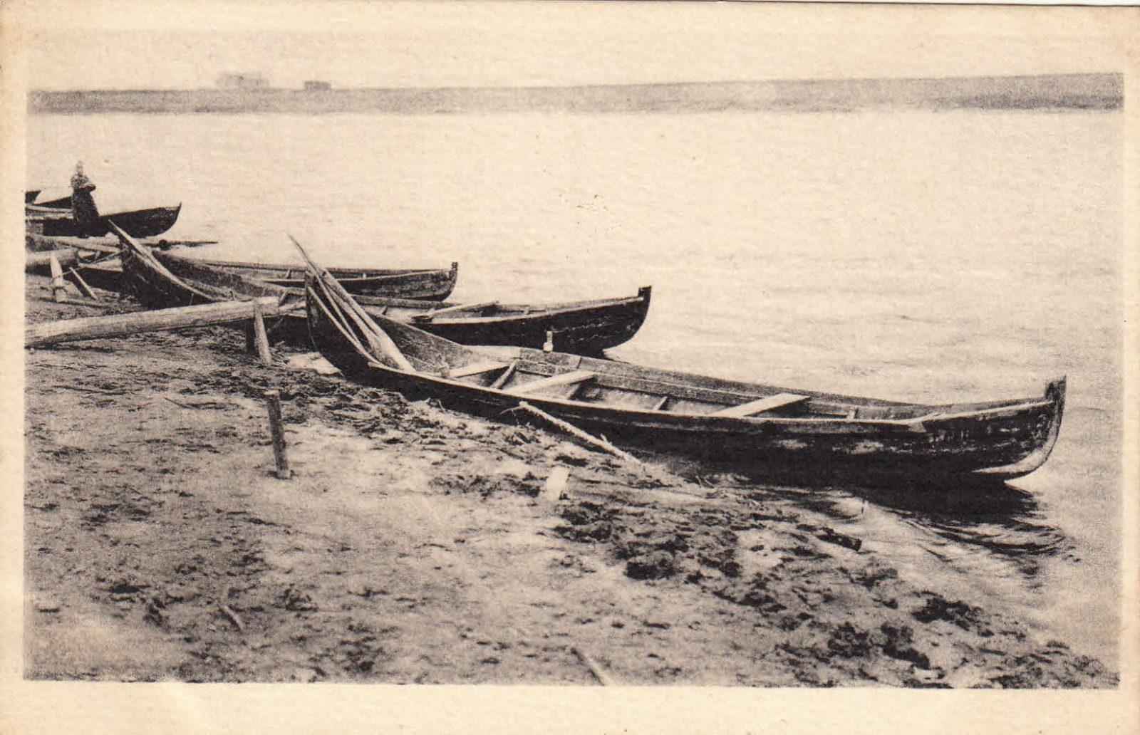 Onega river, boats, Arkhangelsk region, Russia, White Sea.