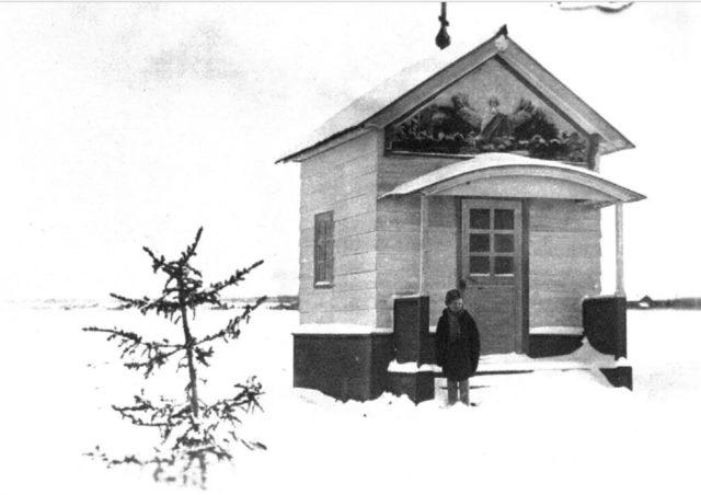 Chapel in Onega, Arkhangelsk region, Russia, White Sea.