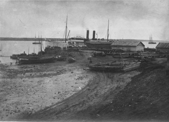 Arrival of a steamboat at Onega Steamboat Pier, Arkhangelsk region, Russia, White Sea.
