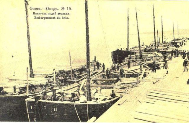 Wood transportation. Onega Pier, Arkhangelsk region, Russia, White Sea.