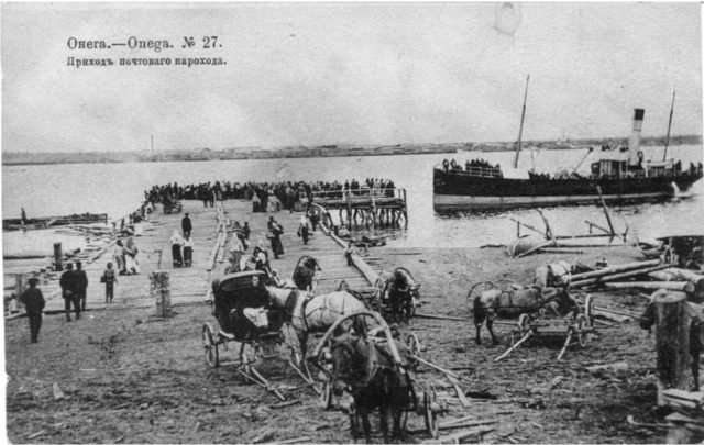 Postal steame arrival at Onega Pier, Arkhangelsk region, Russia, White Sea.