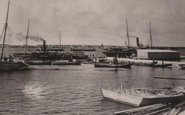 View of two steamers in Onega bay, Arkhangelsk region, Russia, White Sea.