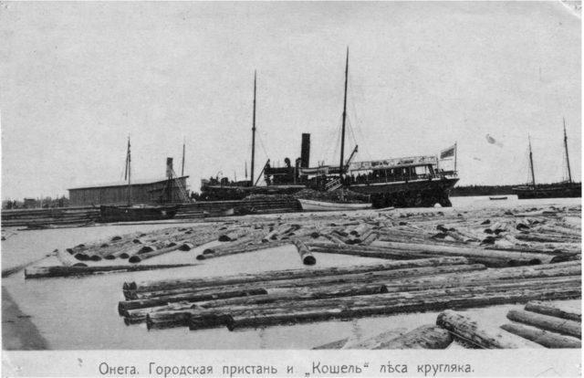Wood in Onega Pier, Arkhangelsk region, Russia, White Sea.