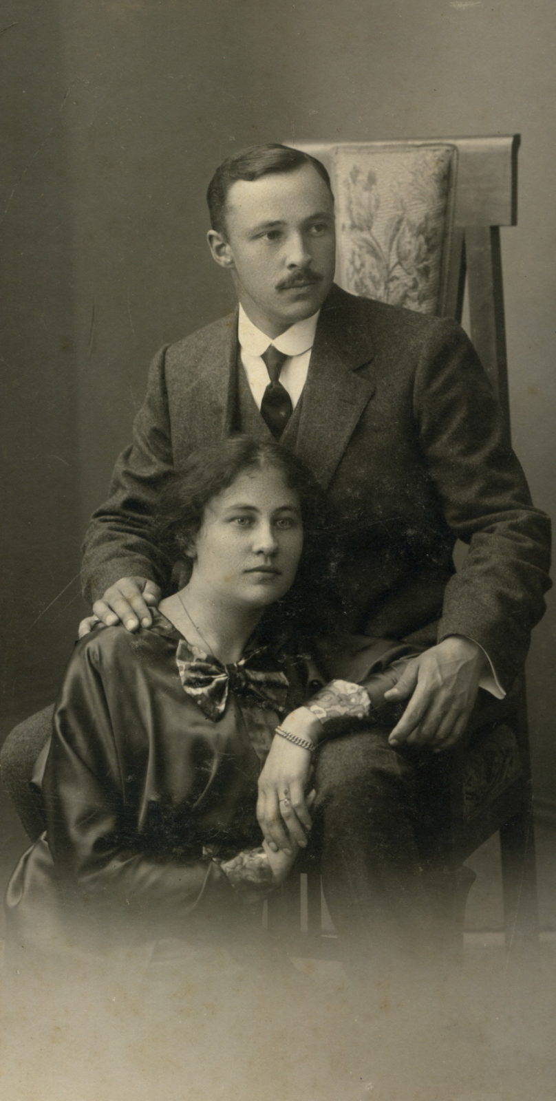Portrait of a married couple Evgeni Petrovich Andreev and Anna. 1912-1915