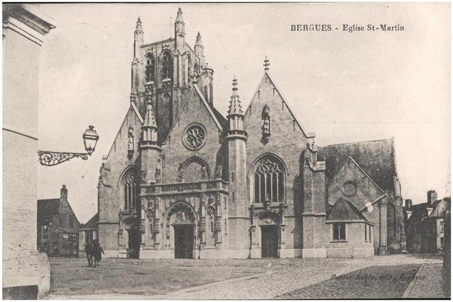 Postcard: Bergues - Eglise St Martin, sent March 1915