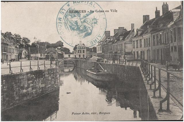 Postcard: Bergues - La Colme en Ville, sent January 1915