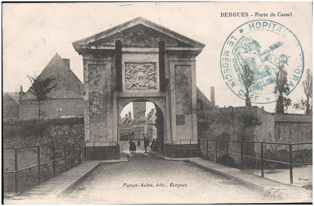 Postcard: Bergues - Porte de Cassel, sent Jan 1915