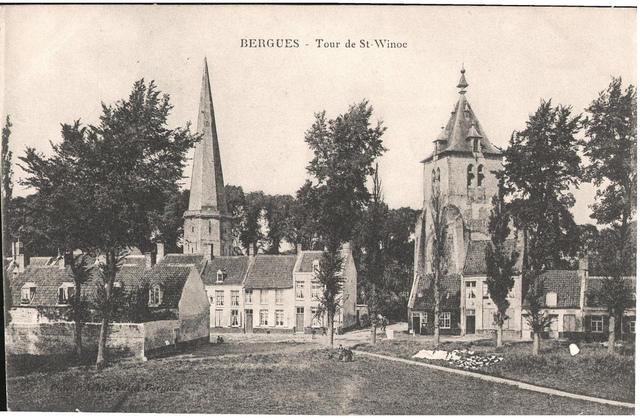 Postcard: Bergues - Tour de St Winoc, sent Feb 1915