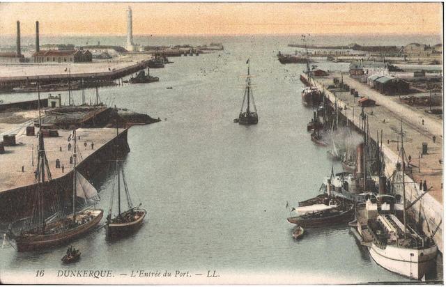Postcard: Dunkerque - Dunkerque - L'Entree du Port, sent April 1915