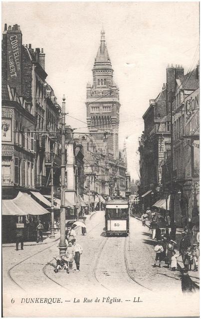 Postcard: Dunkerque - La Rue de l'Eglise, sent March 1915
