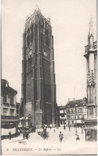 Postcard: Dunkerque - Le Beffroi, sent April 1915