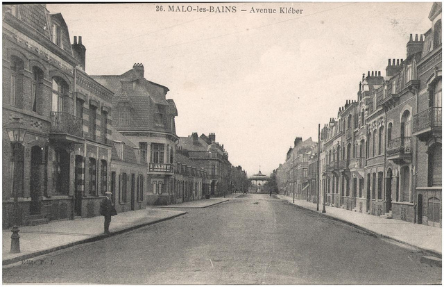 Postcard: Malo-les-Bains - Avenue Kleber, sent 30 April 1915
