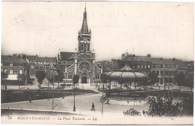 Postcard: Malo-les-Bains - La Place Turenne, sent May 1915