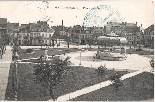 Postcard: Malo-les Bains - Place Turenne, sent March 1915