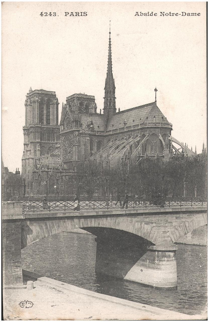 Postcard: Paris - Abside Notre-Dame sent 1 May 1915