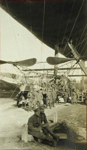 Russian soldiers and the airship Condor at the parking lot.