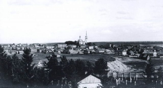 Panoramic View of St. Trinity Cathedral, Onega, Arkhangelsk region, Russia, White Sea.