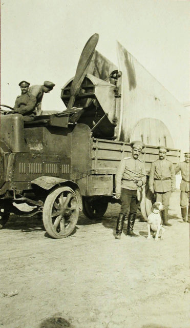 Transportation of an airplane on a truck, the Russian Army, the First World War.