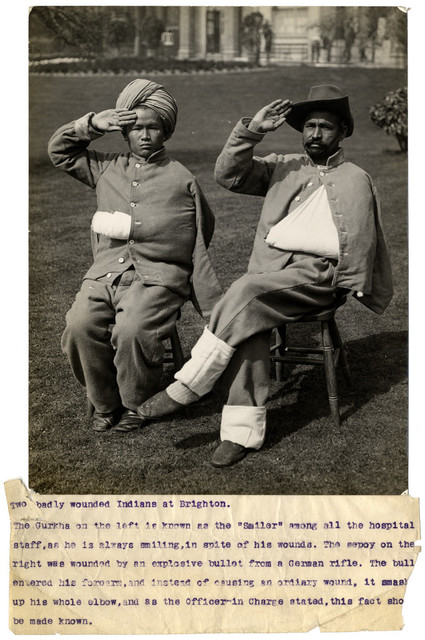 Two badly wounded Indians at Brighton. Photographer: H. D. Girdwood.