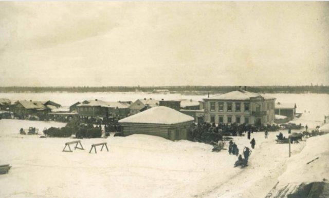 Winter View of Onega, Arkhangelsk region, Russia, White Sea.