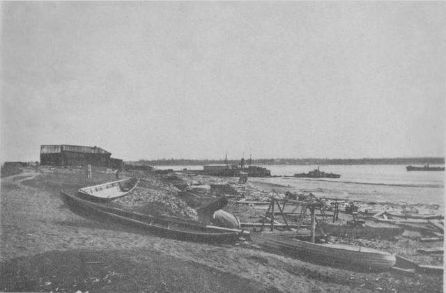 Boats on Onega, Arkhangelsk region, Russia, White Sea.