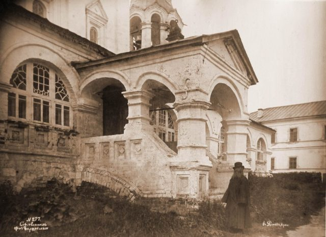 Porch and the entrance to the Church of the Assumption of the Blessed Virgin. Vladimir